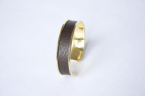 Bracelet manchette jonc cuir chocolat or laiton le bellifontain