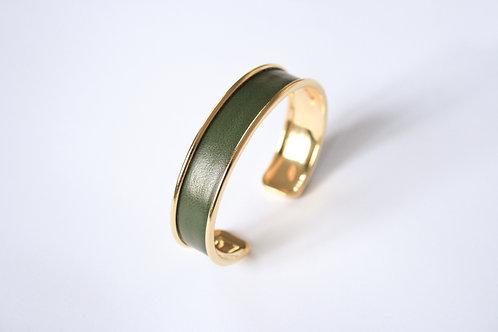 Bracelet jonc manchette cuir vert kaki or laiton le bellifontain