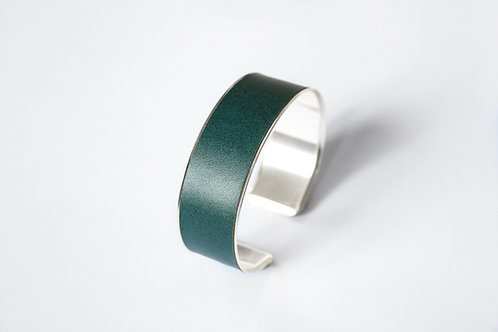 Bracelet manchette jonc cuir vert sapin argent laiton le bellifontain