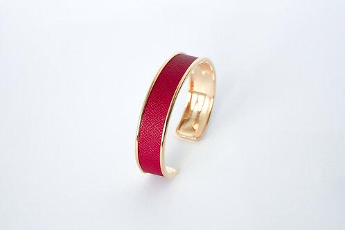 Bracelet manchette jonc cuir rubis or laiton le bellifontain