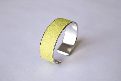 Bracelet manchette jonc cuir jaune fluo argent laiton le bellifontain