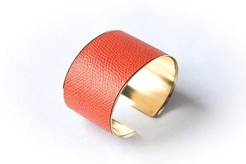 Bracelet manchette jonc cuir tangerine or laiton le bellifontain