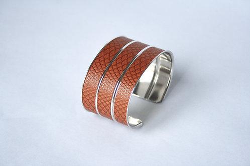 Bracelet manchette jonc cuir marron graphique argent laiton le bellifontain