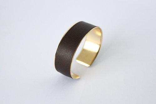 Bracelet manchette jonc cuir café or laiton le bellifontain
