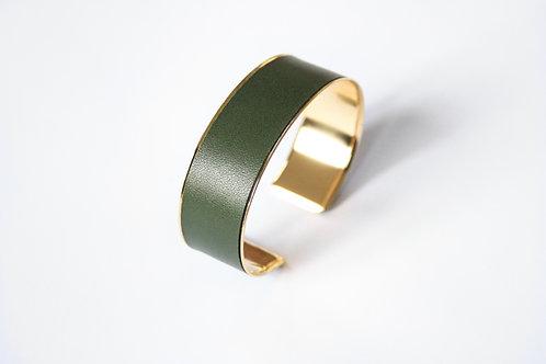 Bracelet manchette jonc cuir vert kaki or laiton le bellifontain