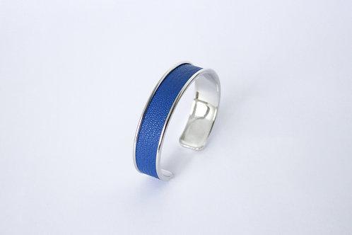 Bracelet manchette jonc cuir bleu roi argent laiton le bellifontain