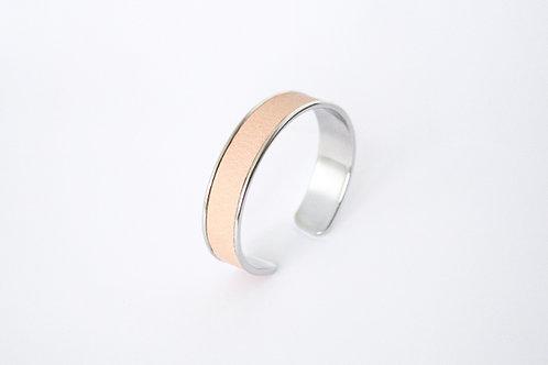 Bracelet manchette jonc cuir nude blanc argent laiton le bellifontain