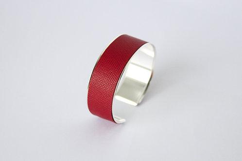 Bracelet manchette jonc cuir rubis argent laiton le bellifontain