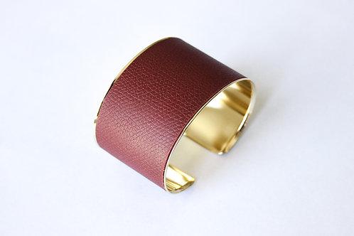 Bracelet manchette jonc cuir pourpre or laiton le bellifontain