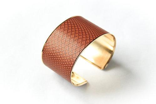 Bracelet manchette jonc cuir marron graphique or laiton le bellifontain