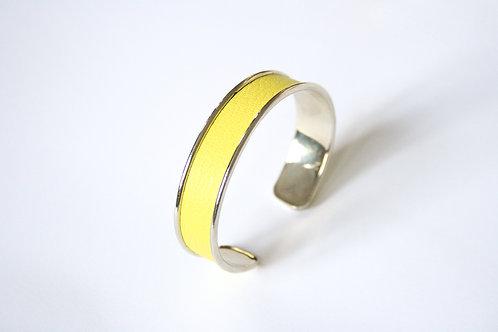 Bracelet jonc manchette cuir jaune fluo argent le bellifontain