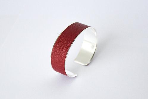 Bracelet manchette jonc cuir bourgogne argent laiton le bellifontain