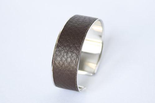 Bracelet manchette jonc cuir chocolat argent laiton le bellifontain
