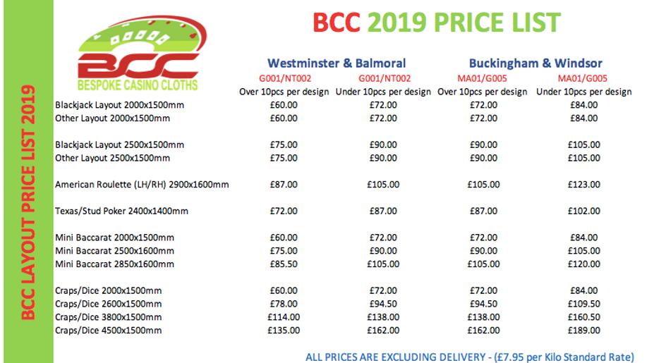 BCC 2019 Price List QV