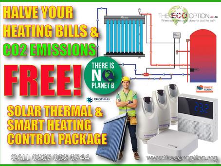 HALVE YOUR HEATING BILLS & CO2 EMISSIONS FREE*
