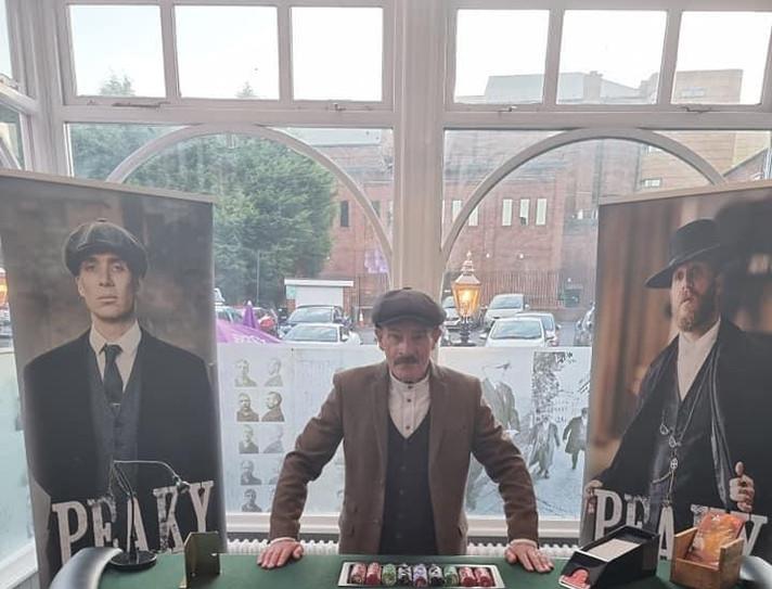 Arthur Peaky Blinders Dealing Blackjack with Black Country Fun Casino.JPG