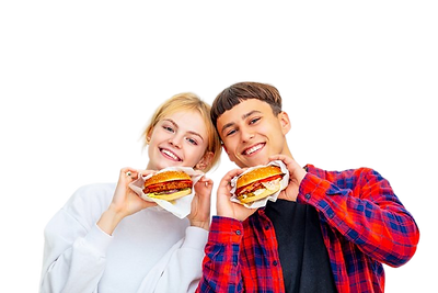 young-beautiful-happy-couple-guy-girl-eating-big-delicious-burgers-white-background_391937