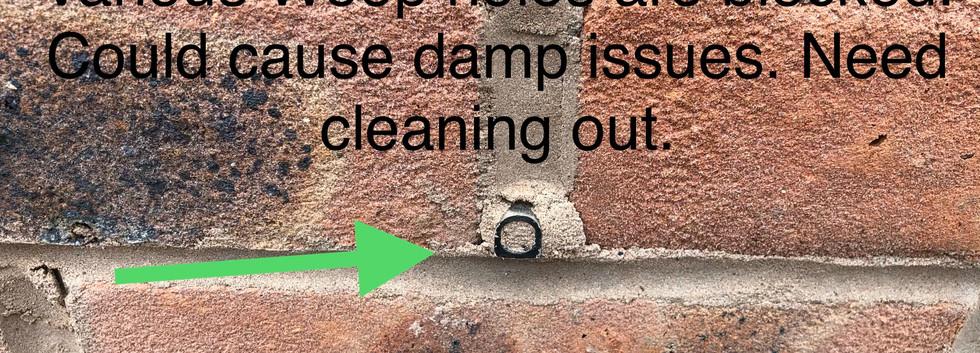 Weep holes causing damp