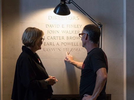 New Director Kaywin Feldman has name carved into the Museum Walls at NGA D.C.