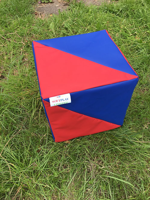 Multi-Coloured Cube- Red/Blue in Triangle Shapes
