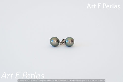 Pendientes con perlas verdes