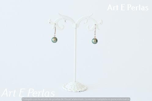 Pendientes con perla gris/verde