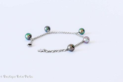 Pulsera de plata con 5 perlas anelladas