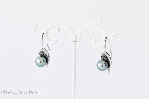 Pendientes de plata con perla azul claro