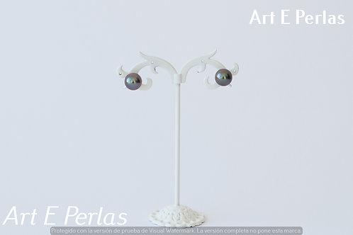 Pendientes con perlas malva