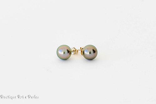 Pendientes de oro con perlas rosas