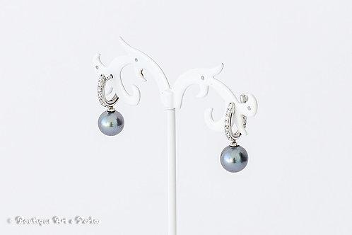 Pendientes con perla azul y circonitas