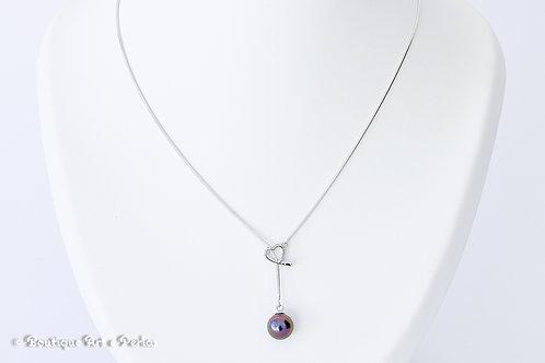 Collar de plata liso con corazón y perla violeta