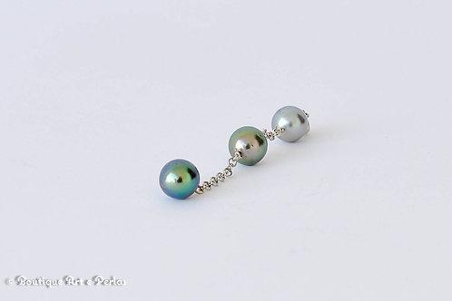 Colgante largo de tres perlas