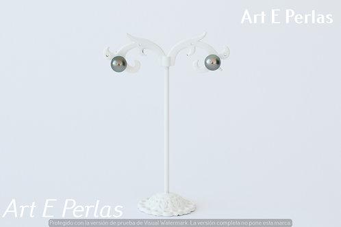 Pendientes con perlas azul/gris