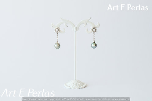 Pendientes con perlas y circonitas
