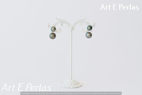Pendientes de plata con doble perla