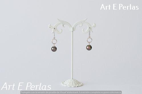 Pendientes largos de plata con perlas
