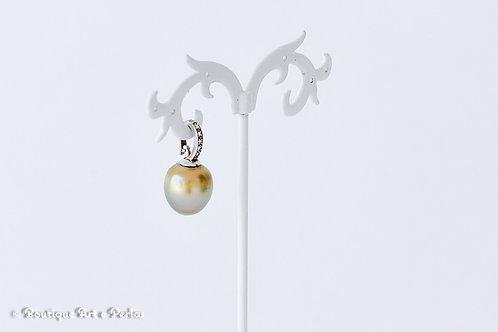 Colgante con una gran perla amarilla semi barroca y circonitas