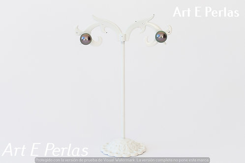 Pendientes con perlas de color malva