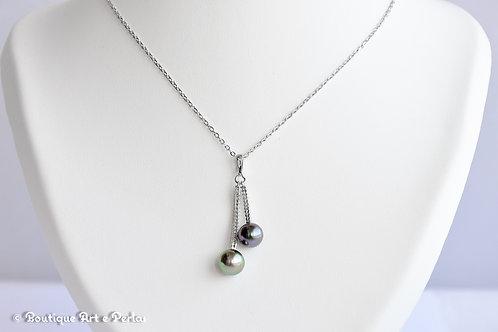 Cadena de plata con colgante de dos perlas