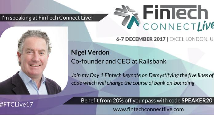 Nigel Verdon to speak at FinTech Connect Live