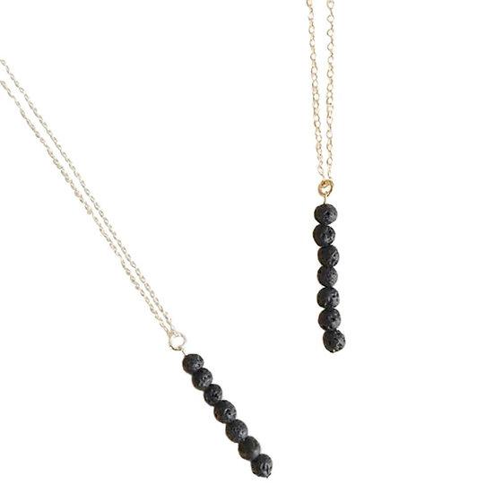 Lava Bead Tower Minimalist Necklace