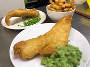 Fish with mushy or garden peas