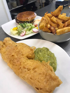 Fish and Burger with Chips