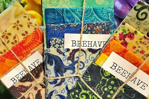 Beeswax Wraps Beehave Mixed of 5 Sets