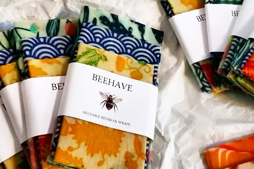 Beeswax Wraps Beehave Mixed of 3 Sets