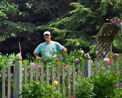 Rick Peters in his garden