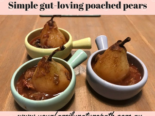 Simple gut-loving poached pears