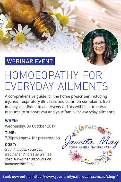 Webinar Event ~ Homoeopathy for everyday ailments