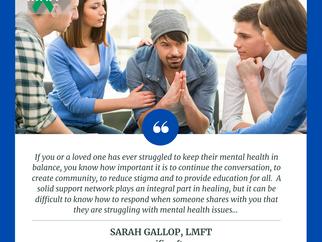 Mental Health Awareness:  Sarah Gallop, LMFT, ATR